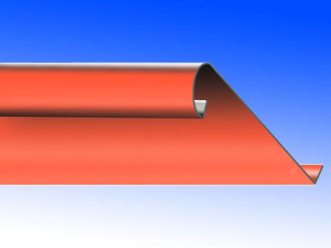 Biermann&Heuer Traufstreifen 200/0,60 mm 3 m mit Falz Wulst Kupfer