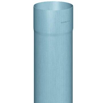 RHEINZINK 6-teilige Fallrohr rund 0,70 mm 2,0 m Nennweite 100 mm geschweißt Titanzink prePATINA blaugrau