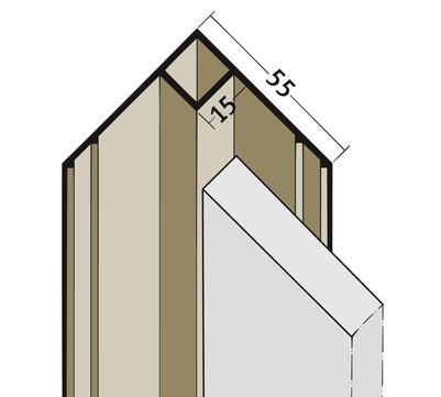 PROTEKTORWERK Innenkante 3505 3,0 m ohne Schnittkantenüberdeckung IK 15 ohne Schnittkantenüberdeckung Braun