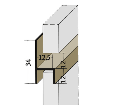 PROTEKTORWERK Fugenprofil 3537 horizontal 2,5 FH 12 H-Profil Plattenstärke 12mm Weiß