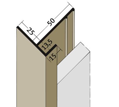 PROTEKTORWERK Anschlussprofil 3560 2,5 m mit Schnittkantenüberdeckung PAA13,5/25 mit Schnittkantenüberdeckung Ziegelrot