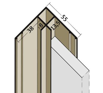 PROTEKTORWERK Innenkante 3654 3,0 m mit Schnittkantenüberdeckung IK 13,5 mit Schnittkantenüberdeckung Weiß