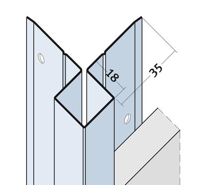 PROTEKTORWERK Außenkante 9402 2,5 m Alu K20 ohne Schnittkantenüberdeckung Natur