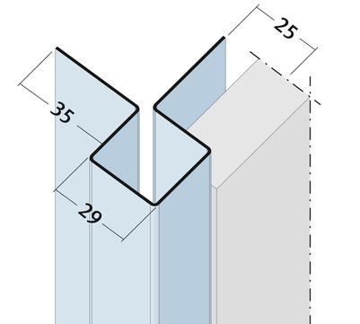 PROTEKTORWERK Außenkante 9484 3,0 m Alu K25 ohne Schnittkantenüberdeckung Natur