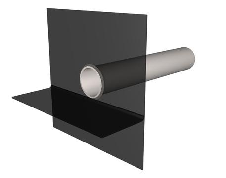 Polybit Nord Attikarohr 75 mm Länge 600 mm mit Flexibitumen-Flansch 500x500 mm Edelstahl V4A