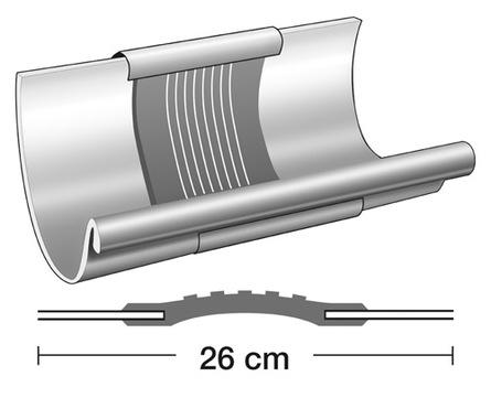 Semmler 7-teilige Rinnendila halbrund 0,70 mm Typ A mit Blende doppelseitig vulkanisiert Titanzink
