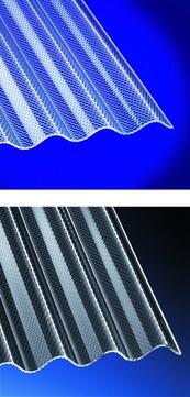 Scobalitwerk Lichtplatte Sinus 76/18 mm 2500 mm Wabe klar 1045x2500x3 mm hoch bruchsicher Acryl