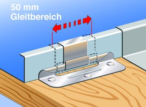 SM Systeme Schiebehafte 38mm Falzhöhe 400 Stück im Paket 50mm Gleitbereich Edelstahl