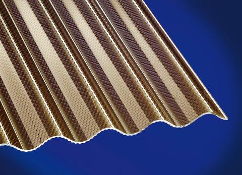 Scobalitwerk Lichtplatte Sinus 76/18 mm 3000 mm Wabe bronce 1045x3000x3 mm hoch bruchsicher Acryl