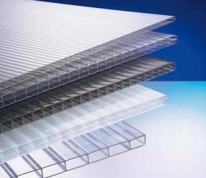 Scobalitwerk Hohlkammerplatte 16 mm 980x4500 mm Polycarbonat einseitig Oberflächenvergütung, Roofstar Klar