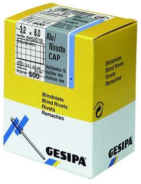 FREUND Blindniet 3,2x 8,0 mm Cap A2 01313280 500St/Pak Standard Dorn:Nirosta Alu