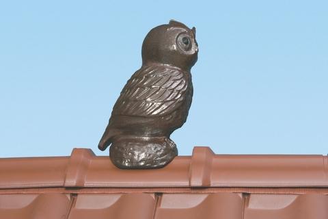 Braas Dachschmuck Firsteule 40 cm Kupferantik glasiert