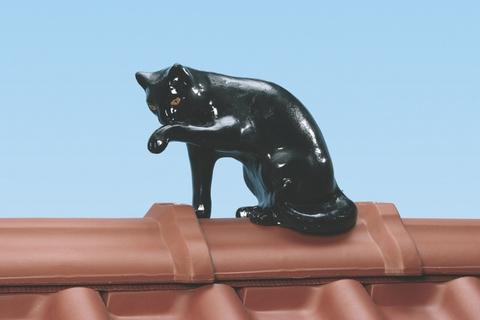 Braas Dachschmuck Firstkatze 25 cm Schwarz glasiert