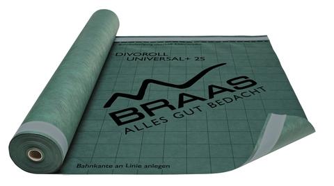 Braas Unterdeckbahn Divoroll universal + 2S 1,5x50 m, mit Klebestreifen neu Grün