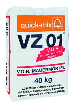 Quick-Mix Vormauermörtel VZ 01 40 kg nicht saugende Steine Grau