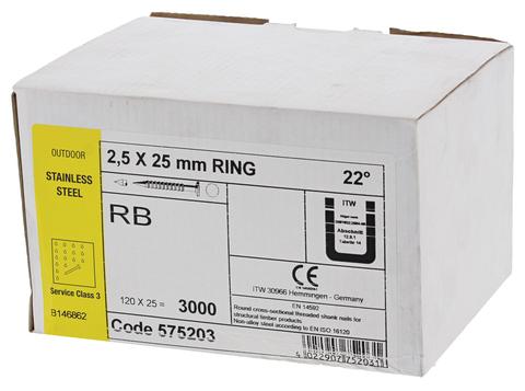 ITW Nagel 25x 25 mm RB Rille RF Nr. 575203 Stahl