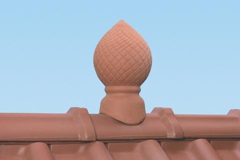 Braas Dachschmuck Firstpinie 35 cm Seidenmatt Rotbuche glasiert