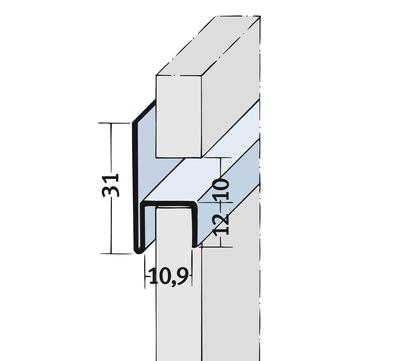 PROTEKTORWERK Fugenprofil 9050 horizontal 2,5 FH 10 H-Profil Plattenstärke 10mm Schwarz