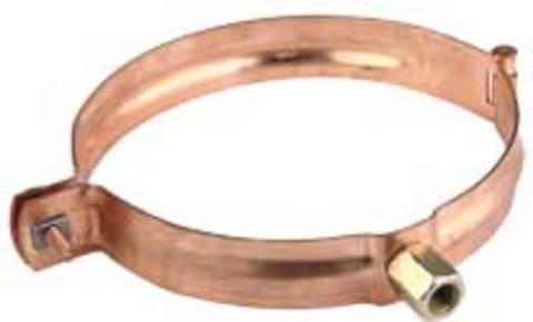 Ungeheuer 8-teilige Rohrschelle rund DN80/M10 mit Gewindemuffe M10 und verstellbarem Gewinde Kupfer