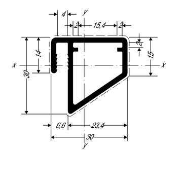 ThyssenKrupp Plastics Versteifungsprofil für Balkon ALUCOBOND 28335, AlMgSi0,5 F22