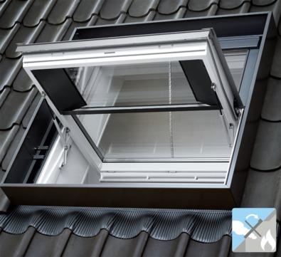 VELUX Schwing-Fenster Kunststoff GGU SK08 SD00402 114x140 cm Polyurethan Energy Plus Rauch- und Wärmeabzug Aluminium
