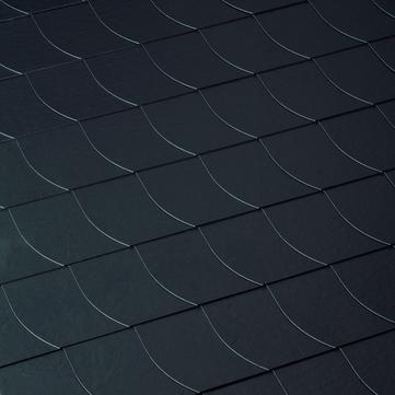 Eternit Dachplatte 25x25 cm Deutsche Deckung 5-10 glatt Quadrat mit Bogenschnitt links Blauschwarz