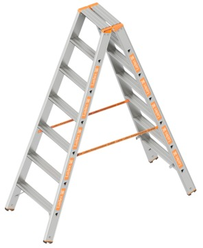 Layher Steigtechnik Doppelstufenleiter Topic 7 Stufen 1. 043. 007 Alu