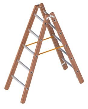 Layher Steigtechnik Verbundstehleiter 1028 2x5 Sprossen Länge 1,55m Holz