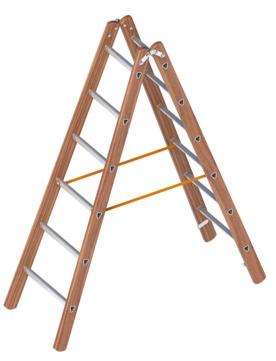 Layher Steigtechnik Verbundstehleiter 1028 2x6 Sprossen Länge 1,80m Holz