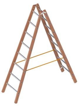 Layher Steigtechnik Verbundstehleiter 1028 2x8 Sprossen Länge 2,40m Holz