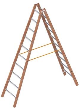Layher Steigtechnik Verbundstehleiter 1028 2x10 Sprossen Länge 2,95m Holz