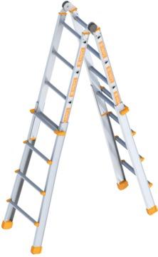 Layher Steigtechnik Teleskopleiter 1058 4x4 Sprossen Länge 1,35-4,16m Aluminium