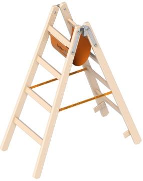Layher Steigtechnik Stehleiter 1038 2x4 Sprossen Länge 1,25m Holz
