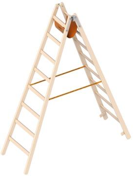 Layher Steigtechnik Stehleiter 1038 2x8 Sprossen Länge 2,35m Holz