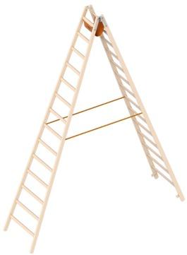 Layher Steigtechnik Stehleiter 1038 14 Sprossen 1038214 Holz