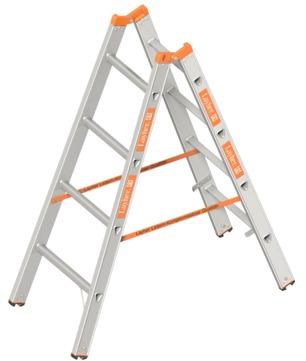 Layher Steigtechnik Stehleiter 1039 2x4 Sprossen Länge 1,30m Topic Aluminium