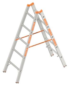 Layher Steigtechnik Stehleiter 1039 2x 5 Sprossen Topic 1,55m Alu