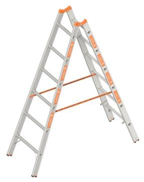 Layher Steigtechnik Stehleiter 1039 2x 6 Sprossen Topic 1,80m Alu