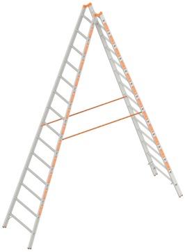 Layher Steigtechnik Stehleiter 2x14 Sprossen Topic 4,05 m Alu