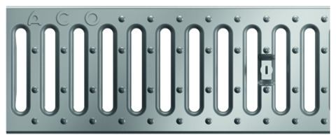ACO Hochbau Profiline Stegrost 100/13 cm begehbar komplett mit Arretierungsbolzen Verzinkt