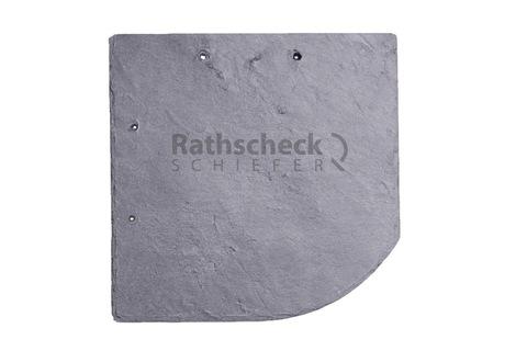 Rathscheck Schiefer Bogen 20x20 cm rechts InterSin gelocht links Deckung Grube 120
