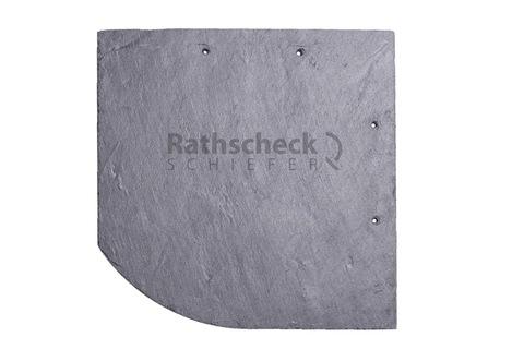 Rathscheck Schiefer Bogen 20x20 cm links InterSin gelocht rechts Deckung Grube 120