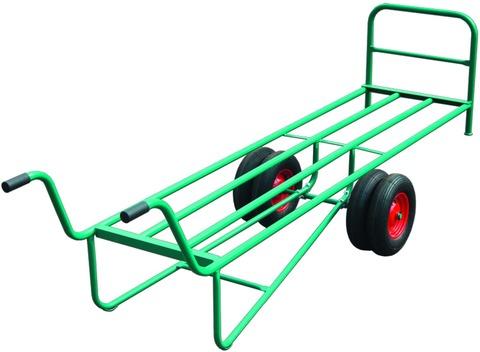 wfw Handwagen mit Zwillingsbereifung komplett Ladefläche 2400x650 mm mit Rohrrückwand Grün