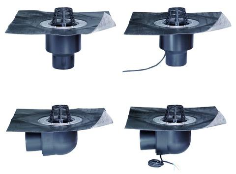 ESSMANN Gully abgewinkelt wärmegedämmt DN 70 mm doppelwandig Sicherheitsflansch Kiesfang Bitumen