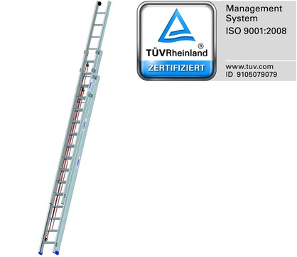 Mauderer Seilzugleiter 3x18 Sprossen Länge 5,32-13,13 m