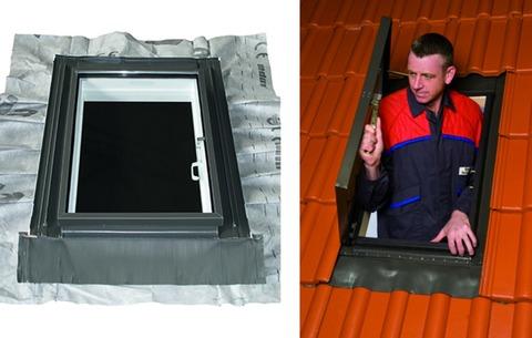 LempHirz Dachfenster 55x85 cm beidseitig da-tec wingopan Dachausstieg Ausstiegsmaß 46x77 cm Graubraun