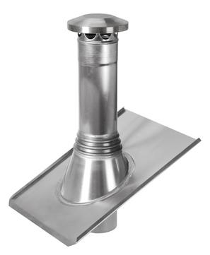 Raku Rohrentlüfter beweglich 100 mm mit Grundplatte 300x400 mm & Dunsthut Blank