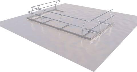 ABS Safety Schutzgeländer Dome OnTop Fusion für 2,5 m Lichtkuppel Montage auf Folie Alu