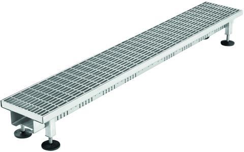 Reichlmeier Drain Rinne 155/ 73-103mm Länge=1000mm, komplett mit Maschenrost Verzinkt