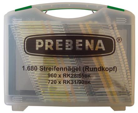 PREBENA RK-Box Streifennägel 1680 Stück RK28/65BK,RK32/80BK im Koffer